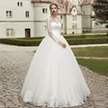 2017 In Stock Elegant Long Sleeve Wedding Dress Ball Gown Garden Lace Applique Mulsim Bridal Wedding Gown Cheap Robe de mariage