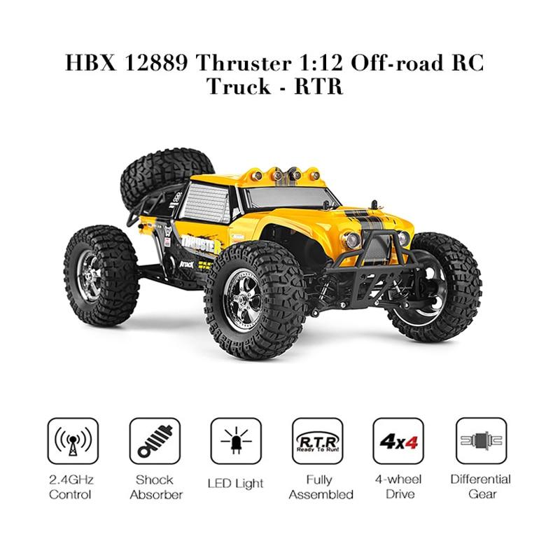 HBX 12889 Thruster 1/12 RC Car 2.4G 4WD Remote Control Drift Electri Car RTR Desert Truck Off-road High Low Speed / Dual Servos wltoys k969 1 28 2 4g 4wd electric rc car 30kmh rtr version high speed drift car