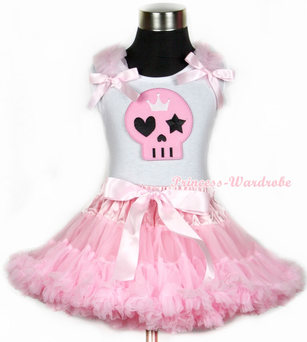 Halloween White Tank Top with Light Pink Skeleton Print with Light Pink Ruffles & Light Pink Bow & Light Pink Pettiskirt MAMG679 energie new pink tank top msrp $16 00