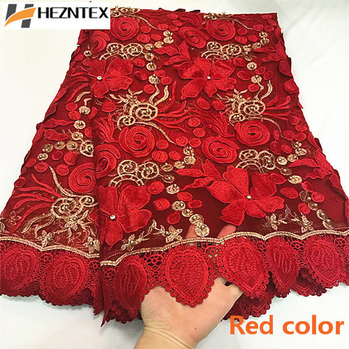 Nigerian Lace Latest African Wedding Fabrics 2019 Bridal Lace Fabric Red Color High Quality Beaded Guipure Laces 5Yards ZQ17-6