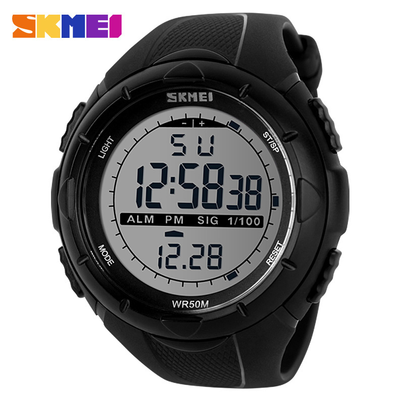SKMEI Men Climbing Fashion Sports Digital Wristwatches Big Dial Military Watches Alarm Shock Resistant Waterproof Watch 1025