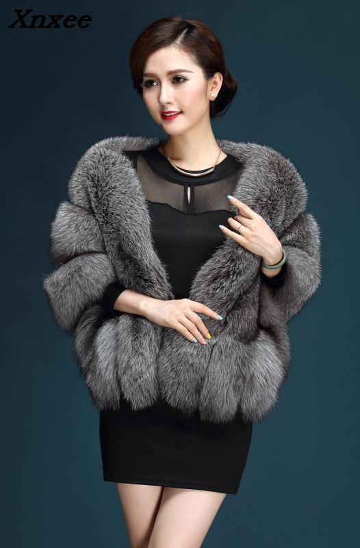 2018 winter faux fur coats luxury fox fur imitation mink fur poncho bridal wedding dress shawl cape women vest fur coat Xnxee
