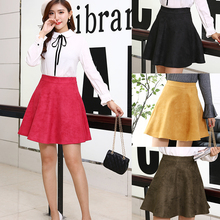 Quality Autumn Winter Soft Suede Flare Skirt Women Casual Faux Leather Skirts A-Line Female Short