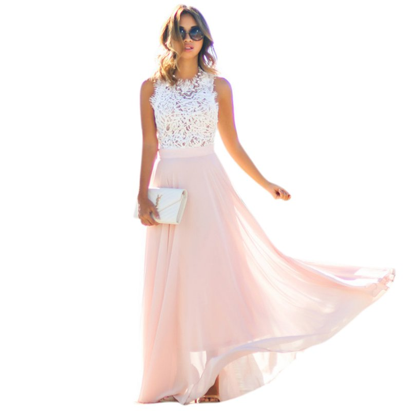 Buy Cheap Women Dress Summer 2017 For Beach Lace Print Sleeveless O-neck Slim Elegant Party Dress Long Sundress Vestidos