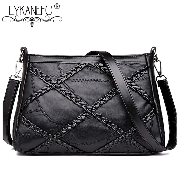 3edaa21ef25a LYKANEFU Sheepskin Genuine Leather Bags for Women Messenger Bags Black Women  Leather Handbag Ladies Crossbody Bag