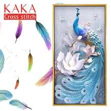 KAKA Cross stitch bộ dụng cụ Thêu bộ vá với in hoa văn, 11CT vải, Trang Trí Nội Thất cho Nhà vườn, 5D Con Công Hoa