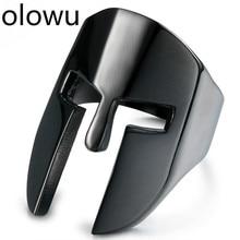 Olowu, Новое поступление, крутая спартанская маска на шлем, мужские кольца, черный, серебристый, золотой тон, кольцо из нержавеющей стали, мужские панк-рок, вечерние ювелирные изделия