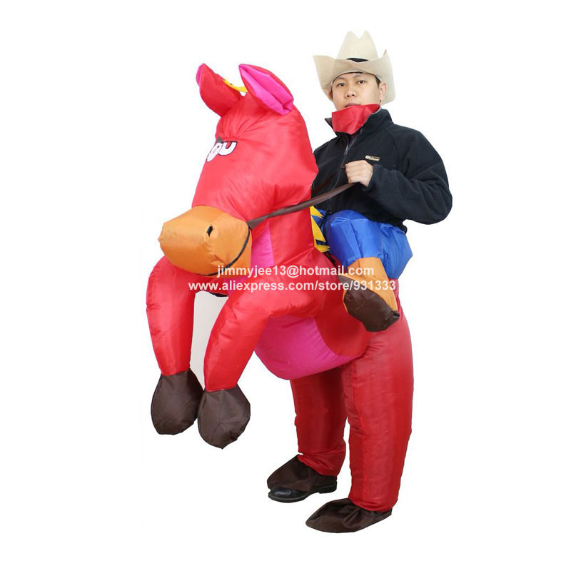 【NEW Red Inflatable Cowboy Rider Costume Costume Riding on ...