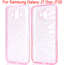For Samsung galaxy J7 DUO J720 Matte Protective Case Soft TPU 3D Diamond Pattern Cover Shell Capa Founda GalaxyJ7Duo J7Duo Pouch(China)