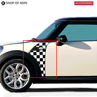 Front Fender side lights Sticker Checkerboard Side Scuttles Trim Decoration For Mini Cooper R55 R56 R60 R61 F55 F56