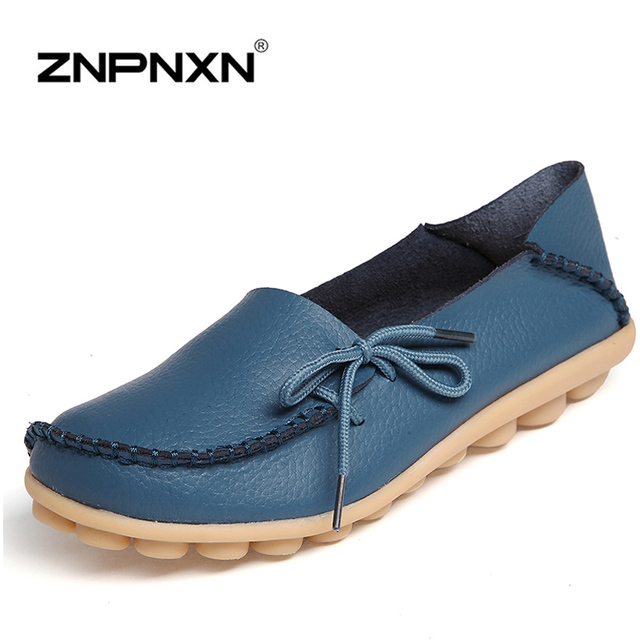 ZNPNXN 2016 Fashion Flats Shoes Women Handmade Shoes Woman Ballet Flats Slip-on Size 34-44 , 15 Colors