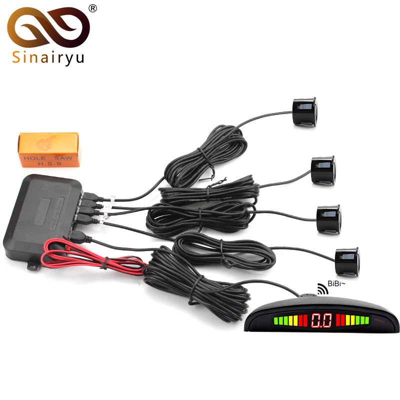 Car LED Parking Sensor Monitor Auto Reverse Radar Detector System + LED Backlight Display + 4 Sensors Parking Assistance