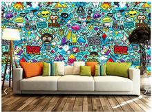 Home Improvement - Painting Supplies  - 3d Photo Wallpaper Custom 3d Wall Murals Wallpaper Setting Wall Graffiti Hand-drawn Cartoons Wall Paper 3d Living Room Wallpaper