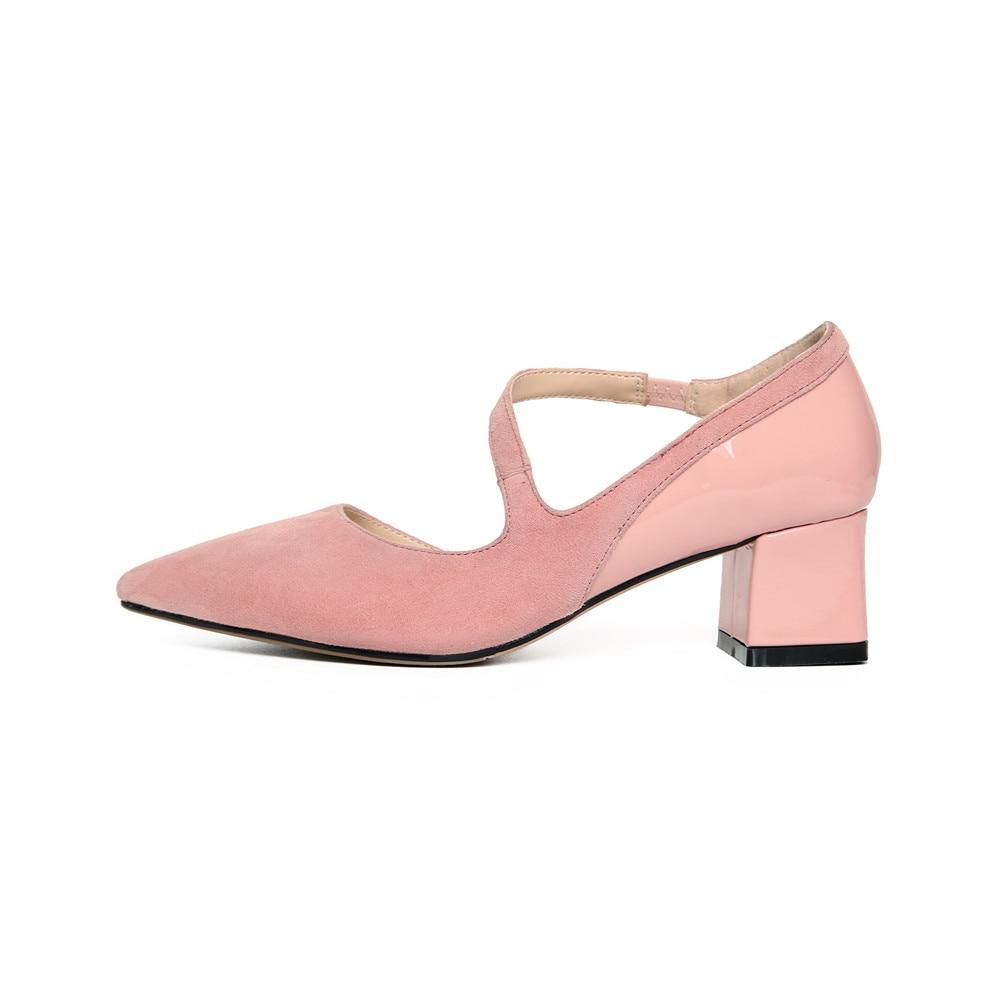Talons Smirnova Mode Hauts Printemps Noir Bout Pointu pink Bal Cuir De Carré Chaussures En Pompes Femmes Suédé Femme Noir Talon Rose rqSAn7r