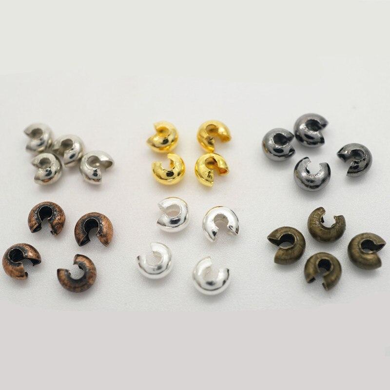 Perles rondes à sertir en alliage plaqué de cuivre, 100 pièces, diamètre argent/or/Bronze/Rhodium/Bronze/HK186, haute qualité