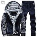 Homens suor ternos de inverno de lã quente dos homens conjunto agasalho basculador casuais ternos sportsuit jaqueta legal calças e conjunto de moletom 2016