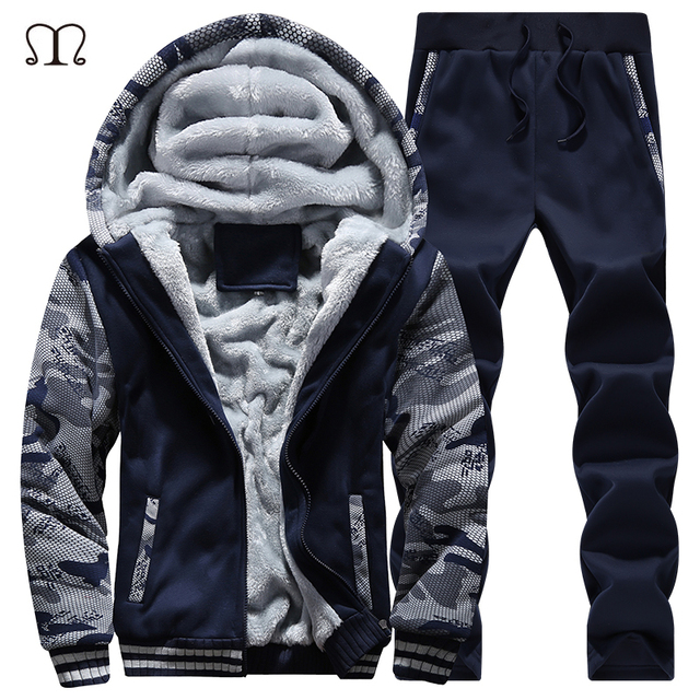 winter men sweat suits fleece warm mens tracksuit set. Black Bedroom Furniture Sets. Home Design Ideas