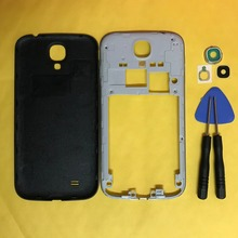 For Samsung Galaxy S4 I9500 I9505 I337 I545 L720 R970 M919 Phone Housing Middle Frame Rear Battery Door Back Cover + Camera Lens