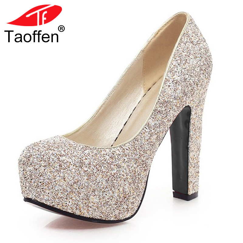 TAOFFEN women stiletto high heel shoes lady brand party quality footwear platform heeled pumps heels shoes size 31-43 P17198 taoffen women high heels shoes women thin heeled pumps round toe shoes women platform weeding party sexy footwear size 34 39