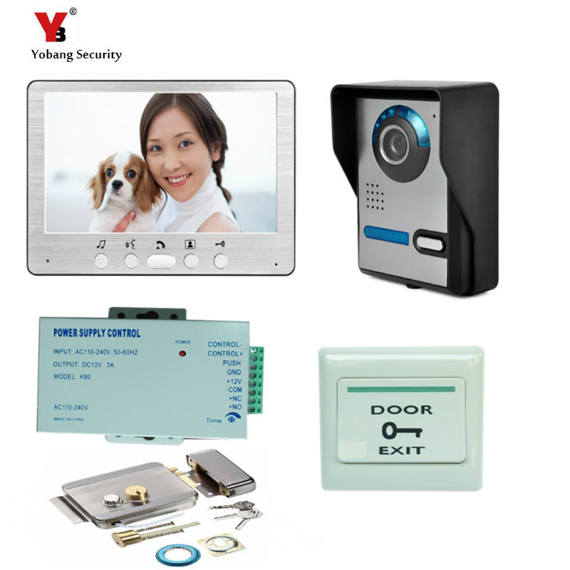 Yobang Security Freeship 7 Inch LCD Monitor Video Door Phone Intercom Door Bell Camera Video Intercom System+Electric Lock