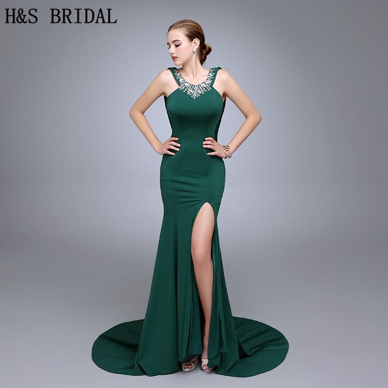 HS18 Горячая распродажа O вокруг шеи Русалка вечернее платье обратно с слоями невидимая молния бисером зеленое вечернее платье