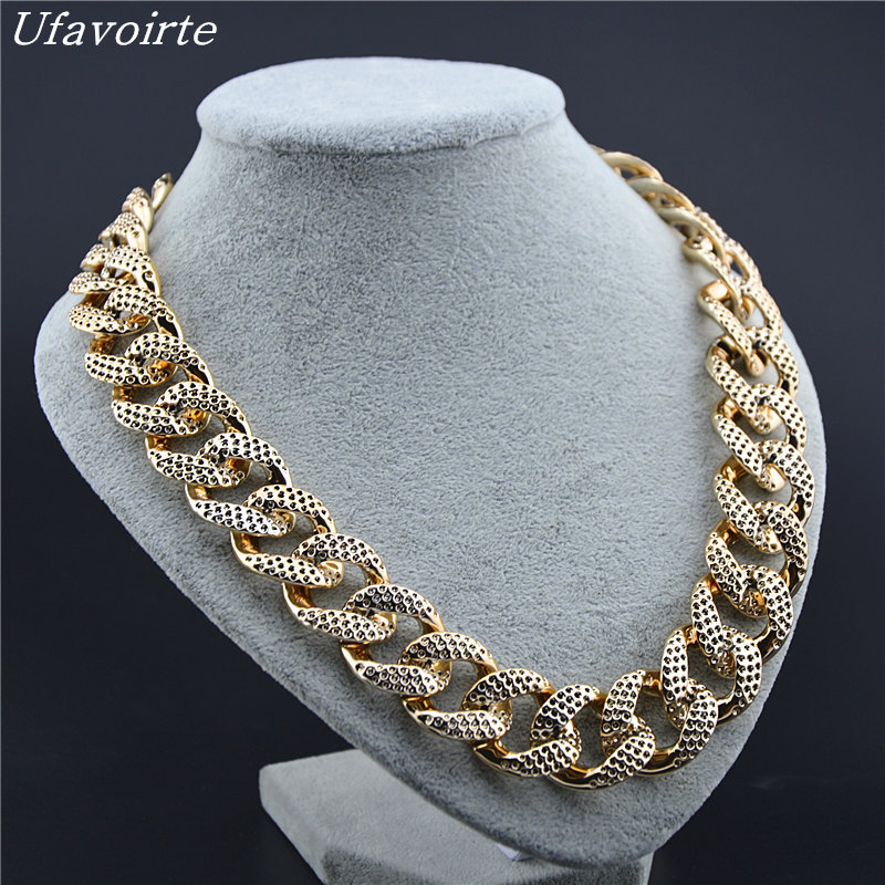 Ufavoirte Brand Design DIY Fashion Jewelry Choker Necklace Plastic Gold Color Chain Necklace Women Maxi High Quality Necklace
