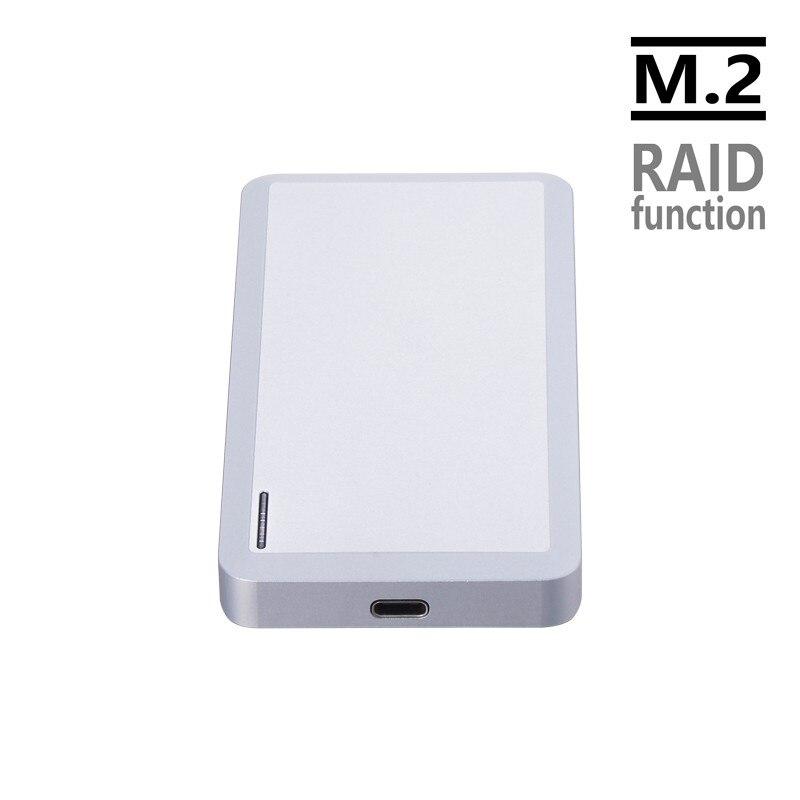 CNC alumunum crafting dual bay M 2 NGFF to USB3 1 HDD SSD enclosure support RAID