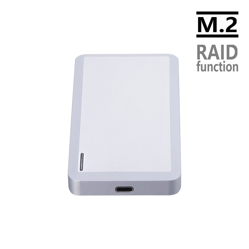 CNC Alumunum Crafting Dual Bay M.2 NGFF To USB3.1 HDD SSD Enclosure Support RAID With Transfer Speed Ups To 10Gb[s