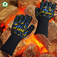 1 Pair Heat Resistant Gloves Food grade Thick Silicon Kitchen Barbecue Oven Glove BBQ Grill Cooking Oven Mitt Baking gloves