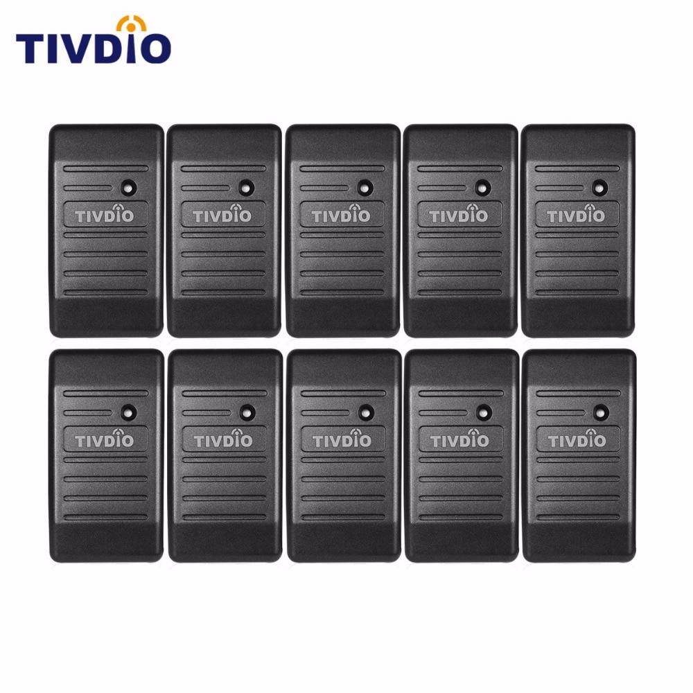 imágenes para TIVDIO 10 unids Lector de Tarjetas Wiegand 26/34 Lector de Control de Acceso de Proximidad EM-ID 125 KHz y ABS Shell Impermeable F9505H