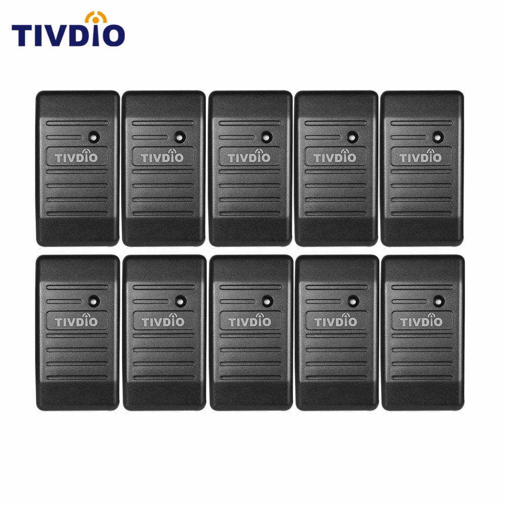 TIVDIO 10pcs Card Reader Wiegand 26/34 Access Control Proximity EM-ID 125KHz Reader & ABS Shell Waterproof F9505H wiegand 26 input