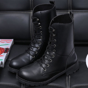 Image 5 - Mắt Cá Chân Giày Cho Nữ Màu Đen Size Lớn 4.5 10 Xe Máy Tăng Da Thời Trang Giày Cao Su Nữ Spring Gothic giày