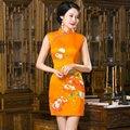 Estilo verão Vestido Mini Cheongsam Elegante De Cetim Chinês Qipao Vestido Tradicional das Mulheres Tamanho da Roupa S M L XL XXL 215986