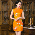 Summer Style Dress Traditional Women's Mini Cheongsam Elegant Chinese Satin Qipao Vestido Clothing Size S M L XL XXL 215986