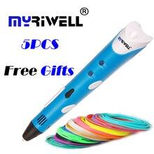 Оригинальный myriwell 3D печати pen1.75mm ABS Smart 3D рисунок ручки + бесплатная нити + прозрачный ПК мягкая доска для рисования 5 бесплатные подарки