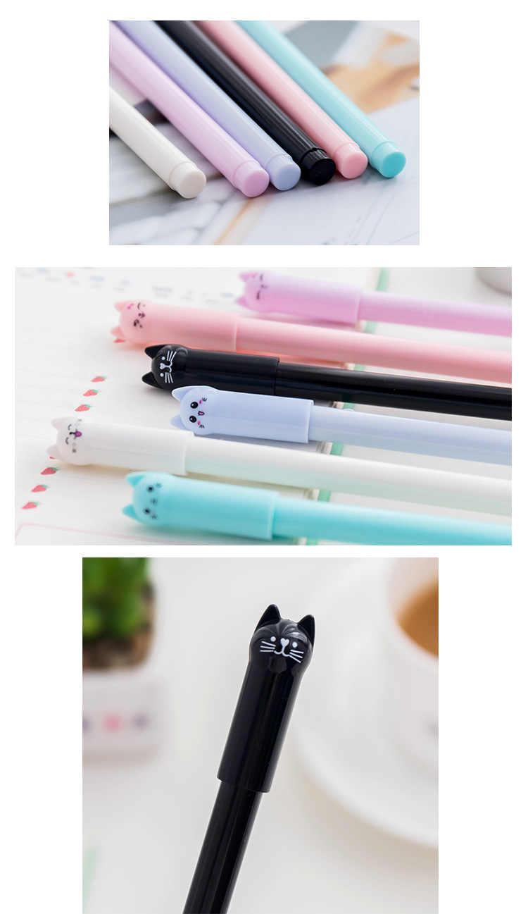 קוריאני כתיבה יצירתית חמוד חתול ג 'ל עט סטודנטים להשתמש 0.5 מלא מחט שחור מזרקת עט ספר עט כתיבה עטים