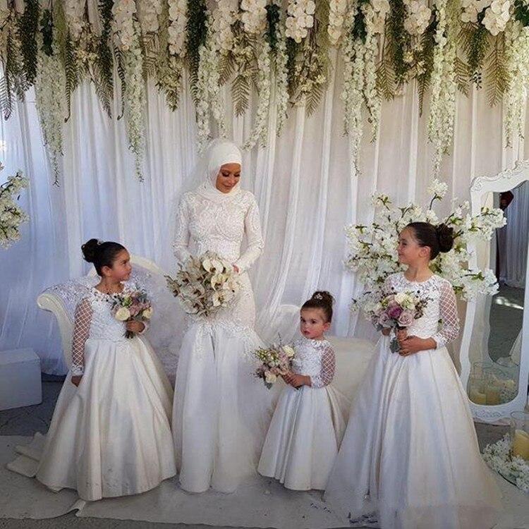 Robe de demoiselle d'honneur en Satin blanc de haute qualité pour mariage musulman avec Appliques en dentelle