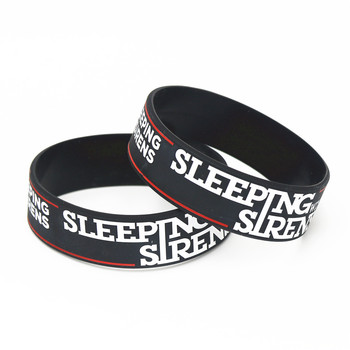 1PC Black Sleeping With Sirens Band Silicone Bracelets&Bangles Wide Tendy Popular Silicone Wristband Classic Band Gifts SH197 image