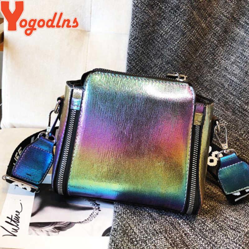 Yogodlnsกระเป๋าผู้หญิงเลเซอร์กระเป๋าแฟชั่นไหล่กระเป๋าถือโซ่Crossbodyกระเป๋าผู้หญิง 2020 Letter MINI FLAPกระเป๋าBolsa feminina