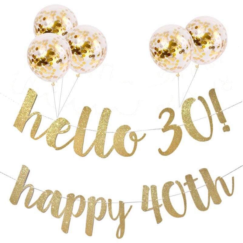 30/40/50/60 e ans anniversaire décor or paillettes papier bannière guirlande confettis ballon anniversaire fête décoration adulte fournitures