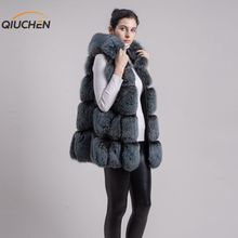 QIUCHEN PJ8094 2018 New Dress Real Fox Fur Long Vest Gilet With Hood Winter Women