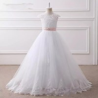 Lovely O neck Sleeveless Flower Girl Dresses White Floor length Lace up Back Girls Pageant Dresses First Communion Dresses