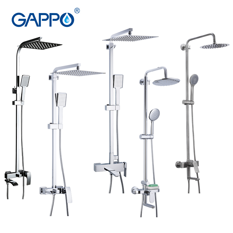 GAPPO Bath Shower System Wall Mounted Rainfall Head Shower Faucet Single Handle Bathroom Shower Set Waterfall Massage Jets Spout