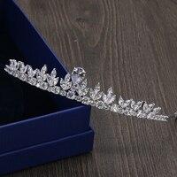 Full AAA Clear Cubic Zirconia Brides Wedding Hair Jewley Accessories Bridal Tiaras Hairbands Crown Prom Princess Coronet Coroa