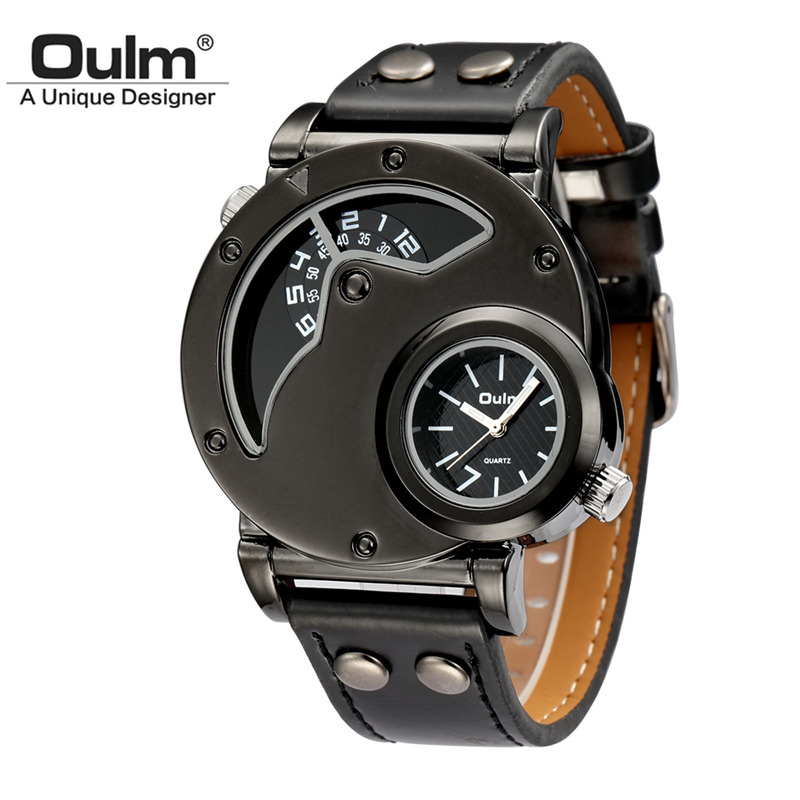 Oulm Male Watch Casual Leather Strap Military Wristwatch Clock Men's Watches Top Brand Quartz-watch relogio masculino jubaoli rotatable bezel male watch quartz leather strap wristwatch