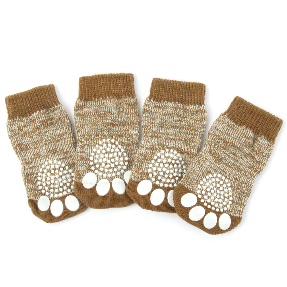 Pet Dog Puppy Warm Knit Cozy Indoor Anti Slip Dog Boots Socks 4 Sizes Hot Sale ...