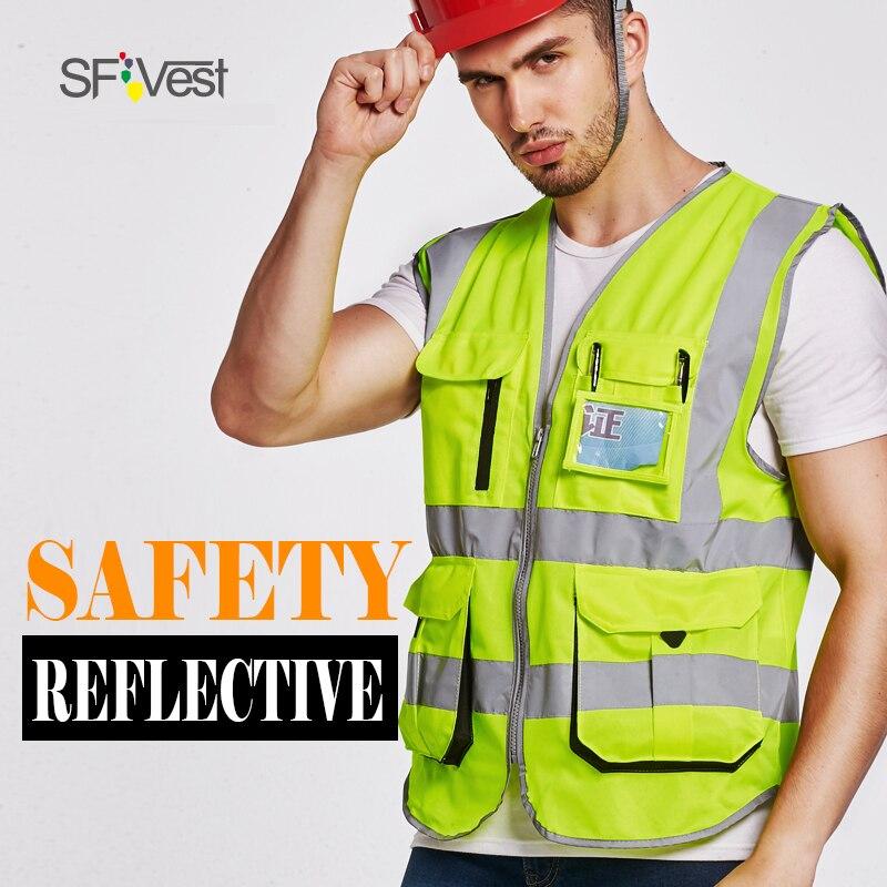 SFVest für den bau transport weste Hohe reflexion reflektierende sicherheitsweste firmenlogo druck weste kostenlose lieferung