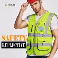 SFVest 건설 교통 조끼 높은 반사 반사 안전 조끼 회사 로고 인쇄 양복 무료 배달