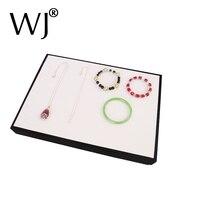 Stackable טבעת תצוגת תכשיטי עגיל שרשרת עור הלבן PU עץ מצגת & מקרה אחסון ארגונית Box מחזיק מגש
