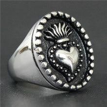 Tamanho do navio da gota 7 13 13 o anel da tocha 316l aço inoxidável jóias moda real coração coroa anel